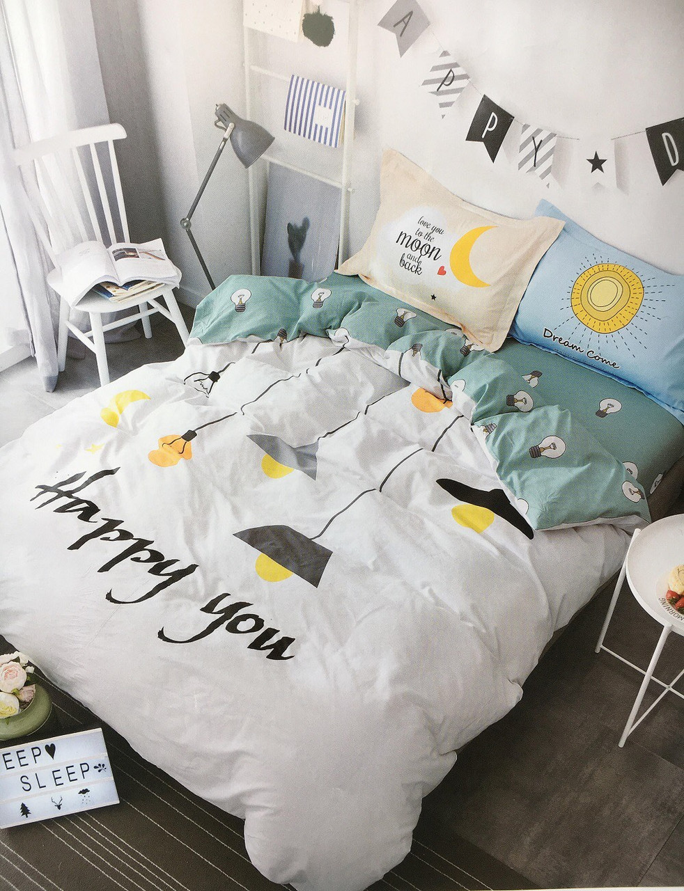 Сатиновое постельное белье с принтом