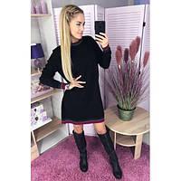 Платье женское норма прямого кроя с манжетами ТЕГ-6092 черный, фото 1