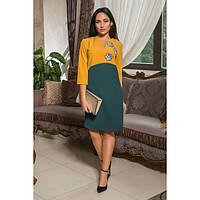 Платье женское норма комбинированное украшено вышивкой АПП-6047 горчица, фото 1