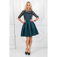 Платье женское норма отрезное от талии верх-гипюр АП-143960 бутылка, фото 1