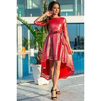 Платье женское норма асимметричное с напылением КВЛ-661 красный, фото 1