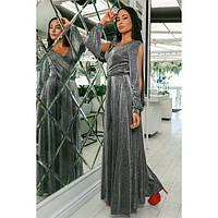 Платье женское норма вечернее с люрексом КВЛ-702 серебряный, фото 1