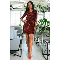 Платье женское норма-мини с пайетками КВЛ-699 бордовый, фото 1