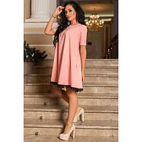 Платье женское норма свободного кроя по низу украшено кружевом КВЛ-581 персиковый, фото 1