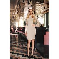 Платье женское норма трикотажное КВЛ-591 бежевый, фото 1