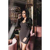 Платье женское норма короткое с длинными рукавами КВЛ-592 шоколадный, фото 1