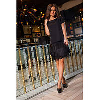 Платье женское норма украшено бахромой и пайетками КВЛ-549 черный, фото 1