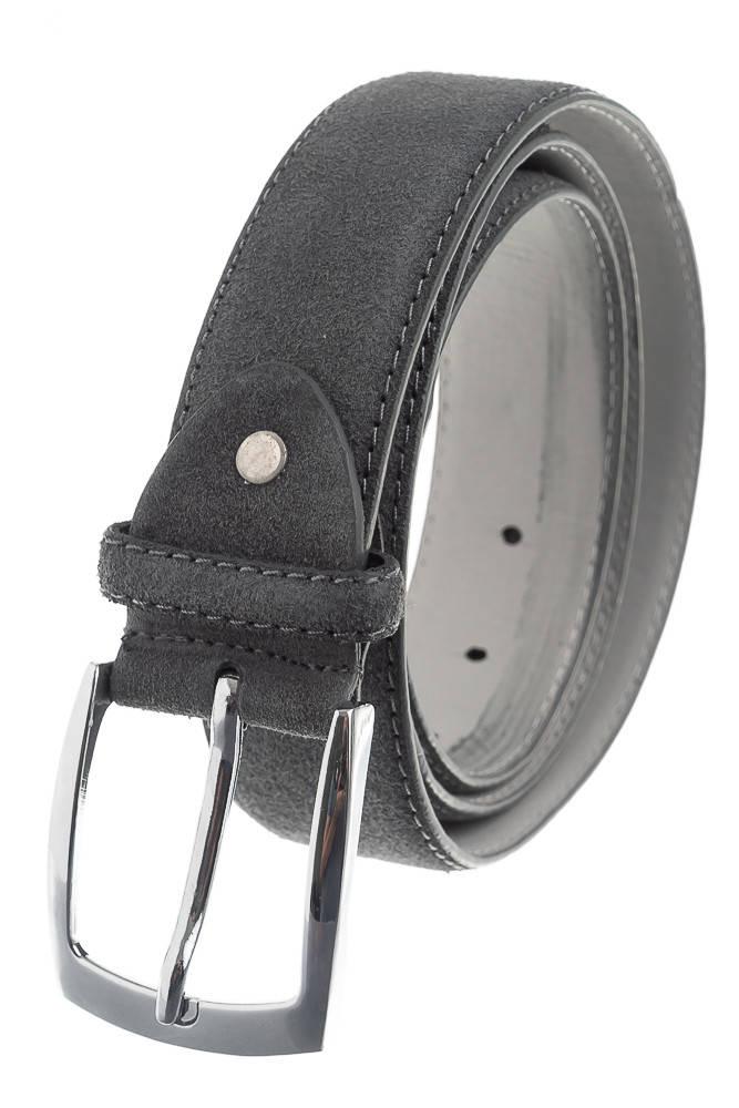 Ремень мужской в стильных оттенках, замшевый 23P025 (Серый)