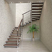Лестница на металлических косоурах на второй этаж