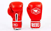 Перчатки боксерские кожаные на липучке BAD BOY STRIKE   красный)