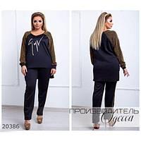 Костюм женский большого размера 537 брючный со вставками из люрекса R-20386 черный+золотой, фото 1