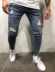 Мужские джинсы ZARA  рваные синие топ реплика
