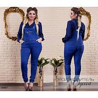 Комбинезон женский большого размера 121 джинсовый R-15967 синий, фото 1