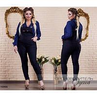 Комбинезон женский большого размера 121 джинсовый R-15966 черный, фото 1