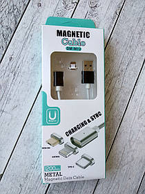 Usb-cable iPhone 5 Magnetic DM-M12 1m (ткань) Black