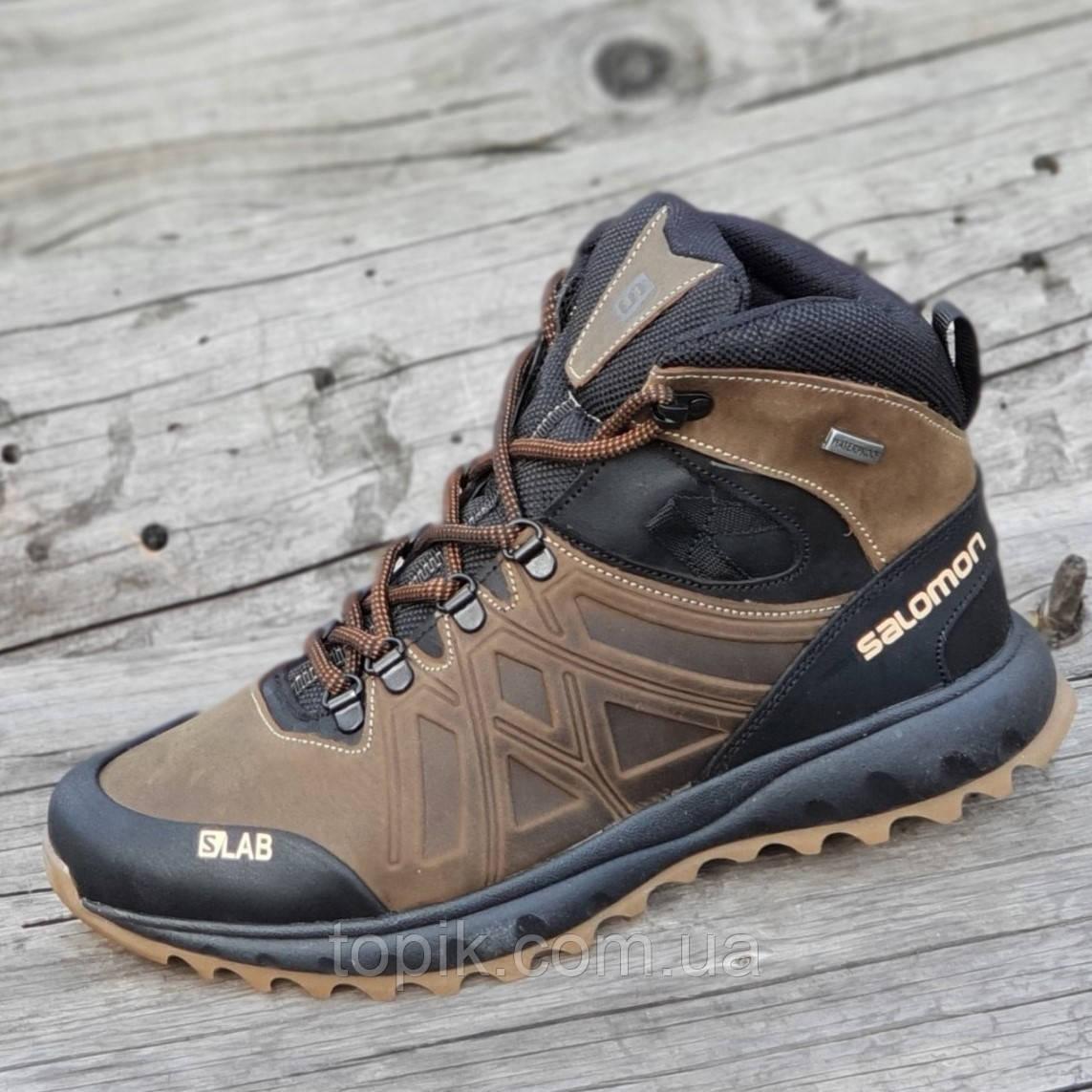 Зимние спортивные кожаные ботинки реплика мужские коричневые натуральный мех (Код: 1270)