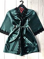Изумрудный халат с кружевом для дома, женские халаты.