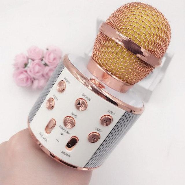 Bluetooth микрофон-караоке WS-858 с динамиком (колонкой), слотом USB и FM тюнером розовый