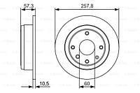 Тормозной диск Bosch задний для Chevrolet Lacetti