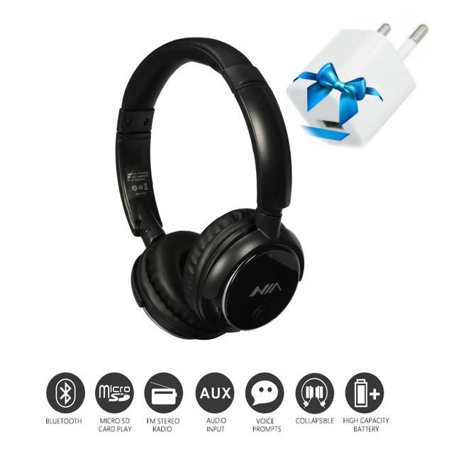 Наушники беспроводные Bluetooth NIA Q1. mp3/fm.