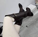 Жіночі коричневі шкіряні ботфорти на низькому ходу, фото 4