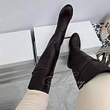 Жіночі коричневі шкіряні ботфорти на низькому ходу, фото 6