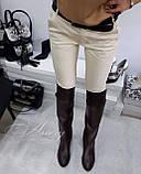 Жіночі коричневі шкіряні ботфорти на низькому ходу, фото 5