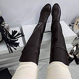 Жіночі коричневі шкіряні ботфорти на низькому ходу, фото 7