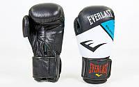 Перчатки боксерские кожаные на липучке ELAST  , черный-белый-синий)