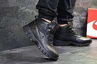 Зимние кроссовки Nike Lunarridge  черные  (Реплика ААА+), фото 1