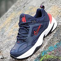 Мужские модные кожаные кроссовки Nike M2K Tekno реплика (Nike Air Monarch) темно синие пенка (Код: 1273), фото 1