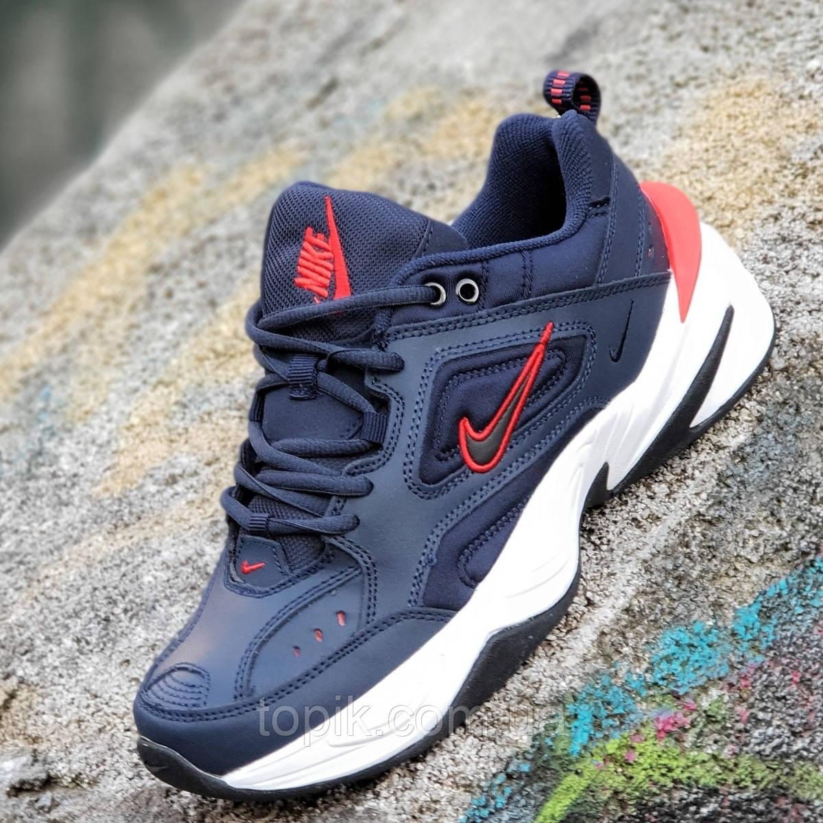Мужские модные кожаные кроссовки Nike M2K Tekno реплика (Nike Air Monarch)  темно синие пенка (Код  1273) dc3760f860d