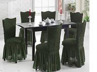 Чехлы для стульев зеленые, 6 шт, Турция