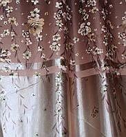 """Ткань атласный блэкаут с принтом """"Фотошторы"""". Высота 2,7м. Цвет коричневых тонах. 281ш"""