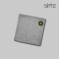 Теплый горловик Stone Island серого цвета  (люкс копия)