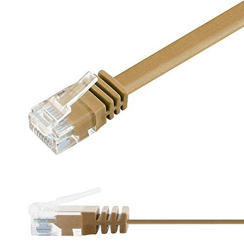 Патч-корд 5м Ligawo 1014175.0 RJ45 Cat6, 1-Gigabit, плоский, Светло-коричневый, фото 1