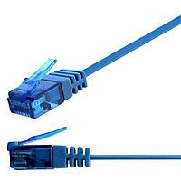Патч-корд 5м Ligawo 1014344.0 RJ45 Cat6a, 10-Gigabit, плоский, синий, фото 1