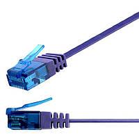 Патч-корд 1м Ligawo 1014401.0 RJ45 Cat6a, 10-Gigabit, плоский, фиолетовый, фото 1