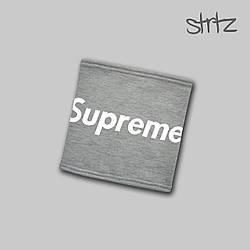 Теплый горловик Supreme серого цвета  (люкс копия)