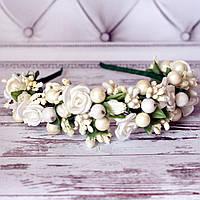 Ободок Красотка (белый) - цветы ручная робота, фото 1