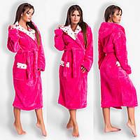 b730ab1d34827 Малиновый уютный домашний женский удлиненный махровый халат на запах. Арт -4812