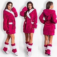 5ee095560b5b4 Бордовый уютный домашний женский короткий махровый халат на запах с  капюшоном + махровые сапожки. Арт