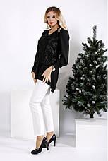 Черная свободная блузка больших размеров, фото 3