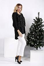 Чорна вільна блуза великих розмірів, фото 2