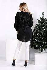 Чорна вільна блуза великих розмірів, фото 3