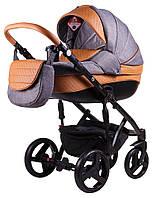 Детская коляска 2 в 1 Adamex Prince X-23 серый лен - рыжая кожа (выдавленная строчка), фото 1