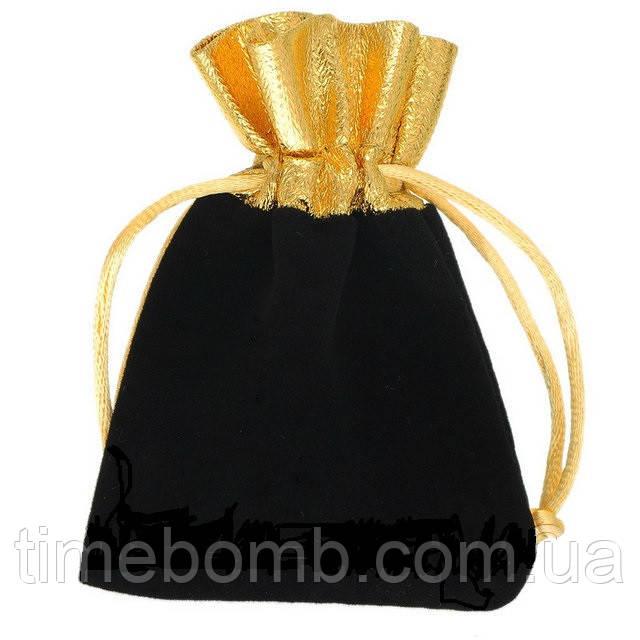 Комбинированный мешочек из бархата и органзы 9.5 x 11.5 см