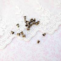 Люверс 5*2.5*5 мм (внутренний Ø 2.5 мм), бронза - 20 шт