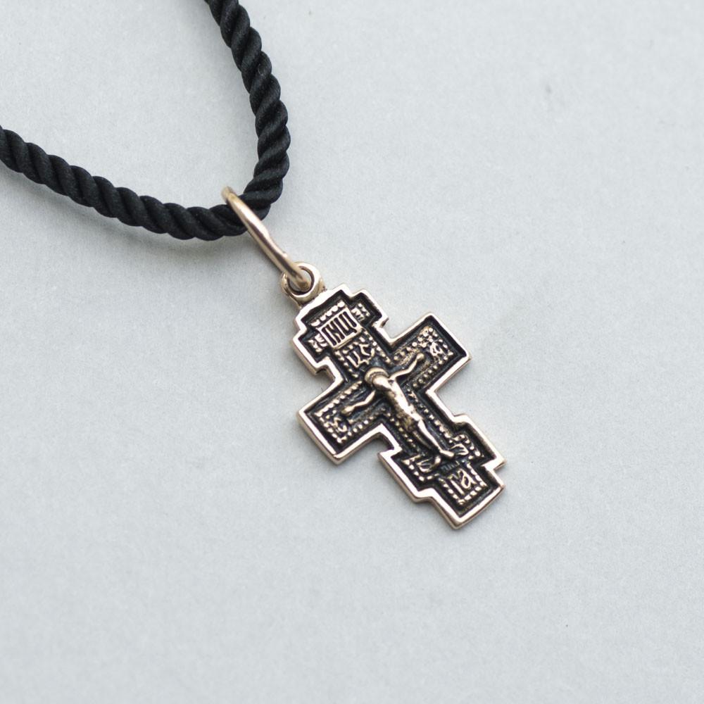 Золотий православний хрестик (чорніння) гп01848