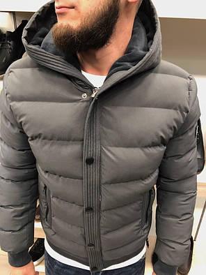 Куртка зимняя стеганая серого цвета, фото 2